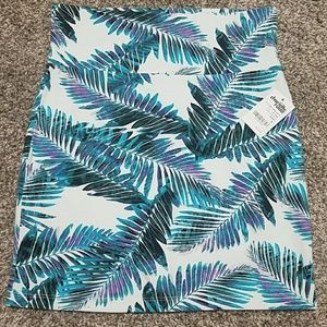 Tropical leaf print mini pencil skirt